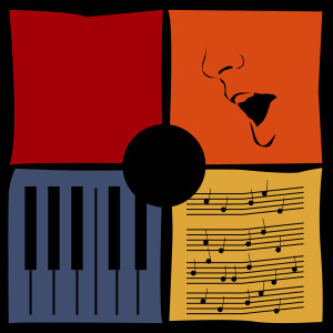 illustrated logo of Songwriter's Square with four colorful squares forming one complete square with a circular black cutout at center