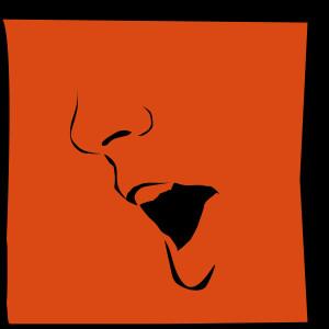 orange background square with illustrated face singing