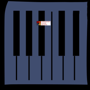 blue background square with illustrated piano keys